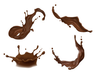 Vector illustration of hot chocolate, cacao or coffee splash with drops, blobs, blots isolated on white background. Appetizing liquid dessert, advertising product, splashing design element for promo