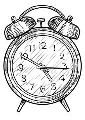 Alarm clock illustration, drawing, engraving, ink, line art, vector