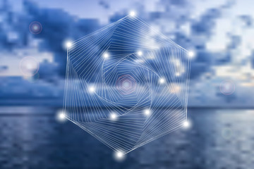 Abstract geometric symbol on blurred natural background.
