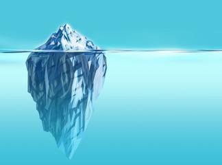 Synergy- iceberg background with deep blue ocean