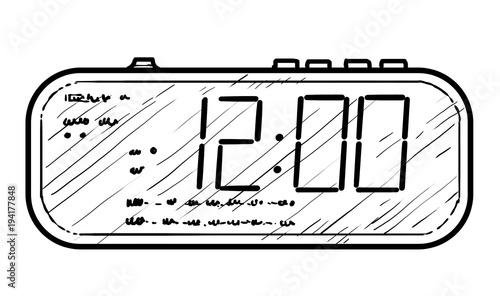 u0026quot digital alarm clock illustration  drawing  engraving  ink