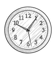 Wall clock illustration, drawing, engraving, ink, line art, vector