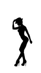 silhouette of nude dance girl. high contrast.