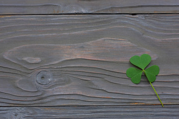 Closeup clovers leaves on dark wooden background top view with copy space