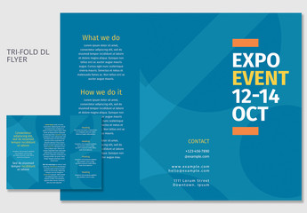 Blue DL Trifold Brochure Layout 2