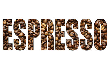 concept espresso word of coffee beans