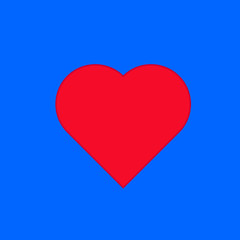 Red heart on the blue background