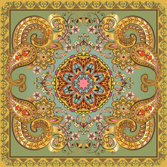 Fantastic flower ornament. Beautiful vector pattern.Design can be used for Card, bandana print, kerchief design, napkin.