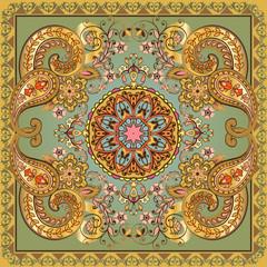 Fantastic flower ornament. Beautiful vector pattern.Design can be used for Card, bandana print, kerchief design, napkin.