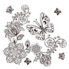 Hand drawn Decorative butterfly with florals for the anti stress coloring page. Butterflies Monochrome Black Pictograms Isolated on White Background.
