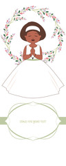 First communion celebration reminder. Cute girl wearing a white dress, surrounded by flower wreath. Space for text