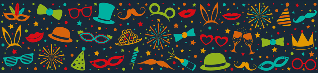 Party banner with colorful icons - panoramic header. Vector.