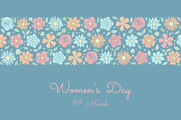 Beautiful banner with hand drawn flowers for Women's Day. Vector.