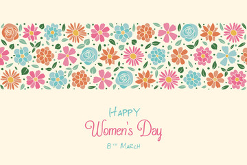 Women's Day - poster with hand drawn flowers in retro style. Vector.