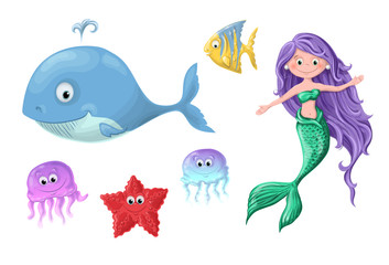 A set of funny cartoon cute nautical inhabitants - a mermaid, a whale, a fish, a starfish and jellyfish.