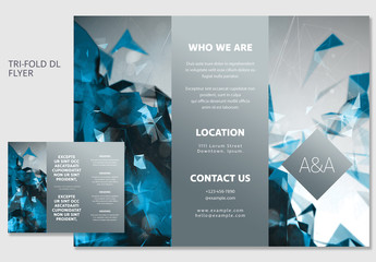 Blue Geometric DL Trifold Brochure Layout 1