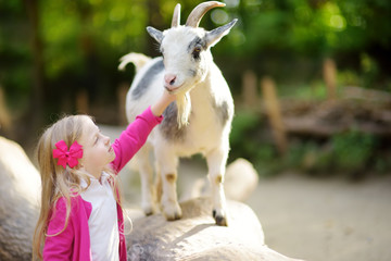 Cute little girl petting and feeding a goat at petting zoo. Child playing with a farm animal on sunny summer day.