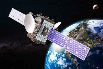 Communication satellite orbiting earth, 3D rendering
