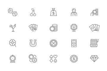 Set of vector gambling and casino line icons. Dice, horseshoe, clover, roulette, jackpot slot machine, lottery bingo, game cards, croupier, fortune wheel and more.