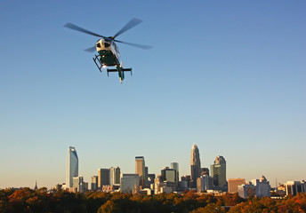 Poster Helicopter Helicopter Over Downtown Charlotte