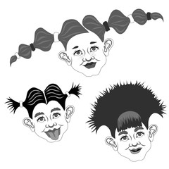 various emotions and looks of girls with different hairstyles in it is black white and gray tones