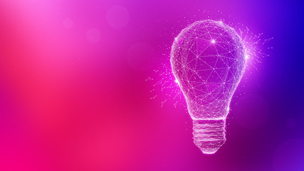 Polygon idea light bulb on blurred gradient multicolored background. Global cryptocurrency blockchain business banner concept. Lamp symbolize inspiration, innovation, invention, effective thinking.