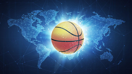 Basketball Ball flying in white particles on the background of blockchain technology network polygon world map. Sport competition concept for basketball tournament poster, placard, card or banner.