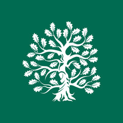 Huge and sacred oak tree silhouette logo badge isolated on green background.