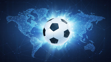 Soccer football ball flying in white particles on the background of blockchain technology network polygon world map. Sport competition concept for football tournament poster, placard, card or banner.