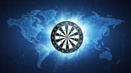 Darts board flying in white particles on the background of blockchain technology network polygon world map. Sport competition concept for darts tournament poster, placard, card or banner.