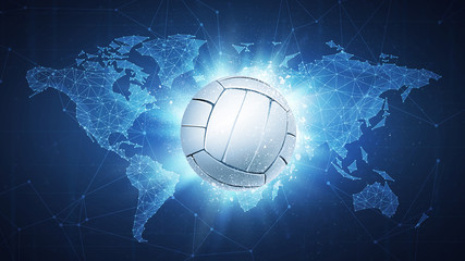 Volleyball Ball flying in white particles on the background of blockchain technology network polygon world map. Sport competition concept for volleyball tournament poster, placard, card or banner.