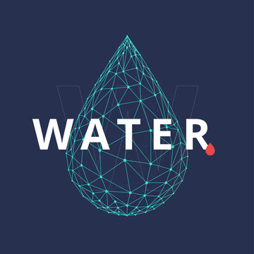 Water drop icon made with blockchain technology network polygon isolated on dark blue background