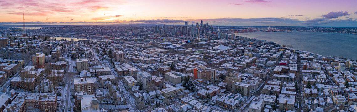 Seattle Washington Skyline Colorful Skies Aerial View Panoramic Snowy Winter Morning Sunrise Dawn