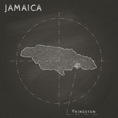 Jamaica chalk map with capital marked hand drawn on textured school blackboard. Chalk Jamaica outline with Kingston marked. Vector illustration.