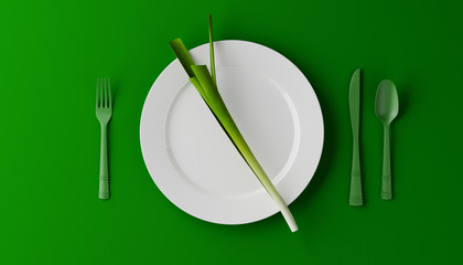 Leek on a white plate, isolated, on green background. Diet concept. 3D illustration.