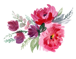 Hand-drawn bouquet of pink flowers. Watercolor composition with peonies.
