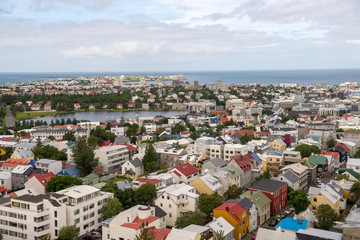 Aerial view of Reykjavik town centre in Iceland, from the Hallgrímskirkja Church.