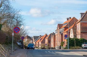 Street in town of Slagelse in Denmark
