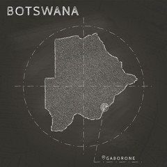 Botswana chalk map with capital marked hand drawn on textured school blackboard. Chalk Botswana outline with Gaborone marked. Vector illustration.