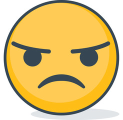 Angry emoticon. Isolated emoticon.