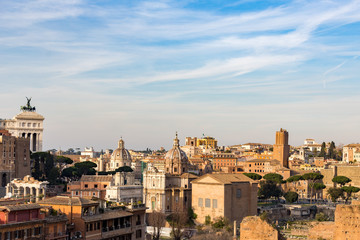 cityscape of rome italy with domes basilica monuments ruins and modern buildings