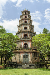 sight of the pagoda Thien Mu in the city of Hue, Vietnam.