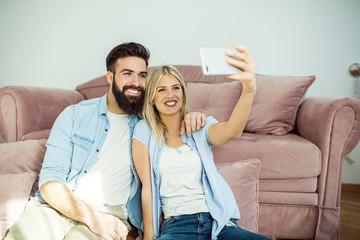 Couple making photos
