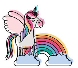 cute unicorn with rainbow kawaii character vector illustration design