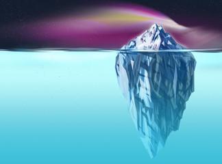 Synergia - grafika góry lodowej nocą