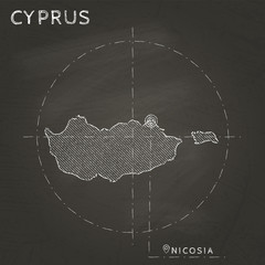 Cyprus chalk map with capital marked hand drawn on textured school blackboard. Chalk Cyprus outline with Nicosia marked. Vector illustration.