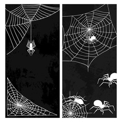 Spiders vector web silhouette spooky nature halloween element cobweb decoration fear spooky net. Web with spider isolated
