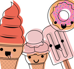 delicious ice cream group and donut kawaii characters vector illustration design