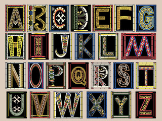 Highly Ornate Gold Illuminated Medieval Vector Font Alphabet Kit Wall mural