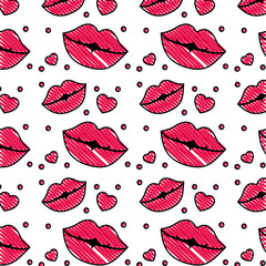 sensuality lips and hearts pattern background vector illustration design